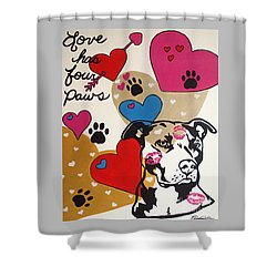 Four Pitty Paws Shower Curtain by Melissa Goodrich
