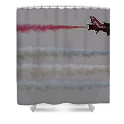Four Red Arrows Smoke Trail - Teesside Airshow 2016 Shower Curtain by Scott Lyons