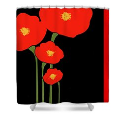 Four Red Flowers On Black Shower Curtain