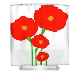 Four Red Flowers Shower Curtain