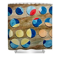 Shower Curtain featuring the painting Four Rows Of Circles On Wood by Andrew Gillette