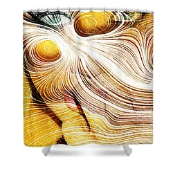Four Yellow Eyes Shower Curtain by Andrea Barbieri