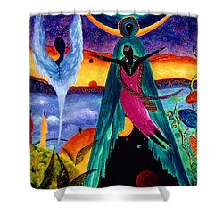 Shower Curtain featuring the painting Flight by Marina Petro