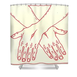 Shower Curtain featuring the drawing Fourteenth Station- Jesus Is Laid In The Sepulcher  by William Hart McNichols
