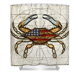Fourth Of July Crab Shower Curtain by Charles Harden