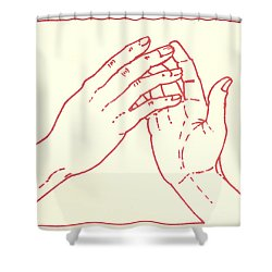 Shower Curtain featuring the drawing Fourth Station- Jesus Meets His Mother by William Hart McNichols