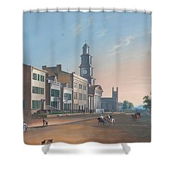 Shower Curtain featuring the painting Fourth Street. West From Vine by John Caspar Wild