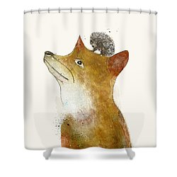 Shower Curtain featuring the painting Fox And Hedgehog by Bri B