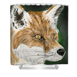 Shower Curtain featuring the digital art Fox by Darren Cannell