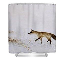 Fox In Snow Shower Curtain by Jane Neville