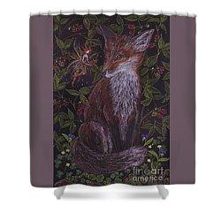 Fox In The Berry Bushes Shower Curtain by Dawn Fairies
