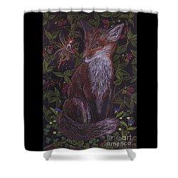 Fox In The Raspberries Shower Curtain by Dawn Fairies