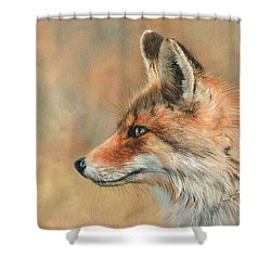 Shower Curtain featuring the painting Fox Portrait by David Stribbling