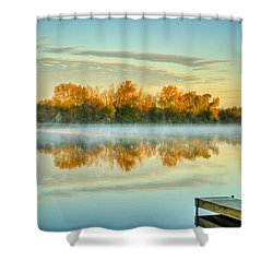 Fox River Above Mchenry Dam At Sunrise Shower Curtain