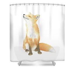 Fox Watercolor Shower Curtain by Taylan Apukovska