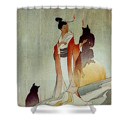 Shower Curtain featuring the photograph Fox Woman 1912 by Padre Art