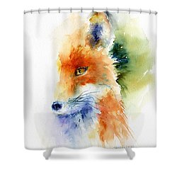 Foxy Impression Shower Curtain by Christy Lemp