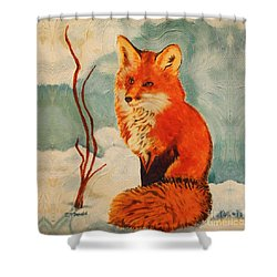 Foxy Presence Throw Pillow Shower Curtain