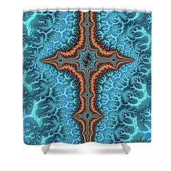 Shower Curtain featuring the digital art Fractal Cross Turquoise And Orange by Matthias Hauser