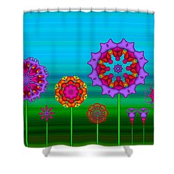 Whimsical Fractal Flower Garden Shower Curtain