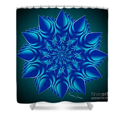 Fractal Flower In Blue Shower Curtain