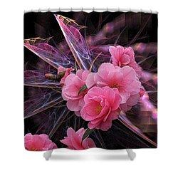 Fractal Meets Camellia  Shower Curtain