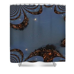 Fractal Moon Shower Curtain by Tim Allen