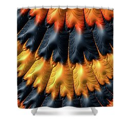 Shower Curtain featuring the digital art Fractal Pattern Orange And Black by Matthias Hauser