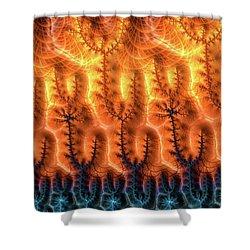 Shower Curtain featuring the digital art Fractal Pattern Orange Brown Aqua Blue by Matthias Hauser