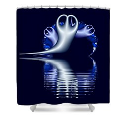 Fractal Peeble Ghosts Shower Curtain