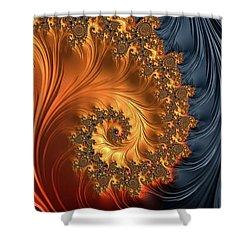 Shower Curtain featuring the digital art Fractal Spiral Orange Golden Black by Matthias Hauser