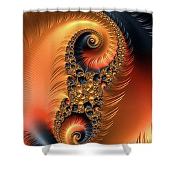 Shower Curtain featuring the digital art Fractal Spirals With Warm Colors Orange Coral by Matthias Hauser