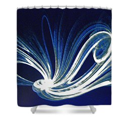Shower Curtain featuring the photograph Fractal Wonder In Blue And White by Merton Allen