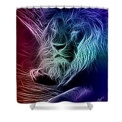 Shower Curtain featuring the digital art Fractalius Lion by Zedi