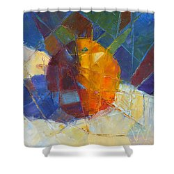 Fractured Orange Shower Curtain