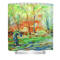 Fragezeichen - The Question Mark Shower Curtain by Koro Arandia