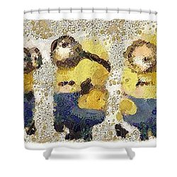 Fragmented And Still In Awe Congratulations Minions Shower Curtain by Catherine Lott