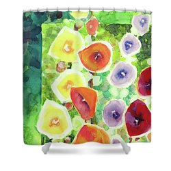 Shower Curtain featuring the painting Framed In Hollyhocks by Kathy Braud