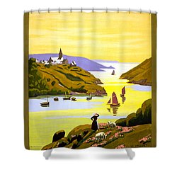 France Bretagne Vintage Travel Poster Restored Shower Curtain