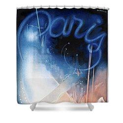 France Paris Vintage Travel Poster Restored Shower Curtain by Carsten Reisinger