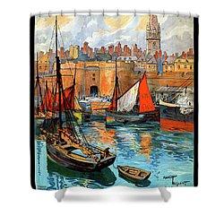 France Saint Malo Restored Vintage Travel Poster Shower Curtain by Carsten Reisinger