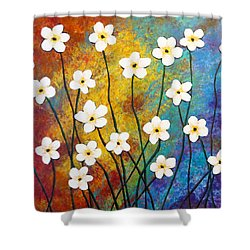Frangipani Explosion Shower Curtain by Teresa Wing