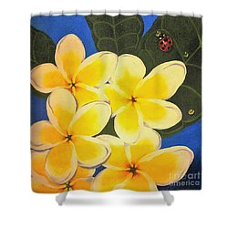 Shower Curtain featuring the painting Frangipani With Lady Bug by Sandra Phryce-Jones