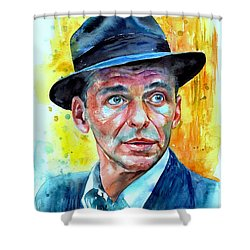 Frank Sinatra In Blue Fedora Shower Curtain
