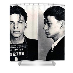 Frank Sinatra Mug Shot Horizontal Shower Curtain by Tony Rubino