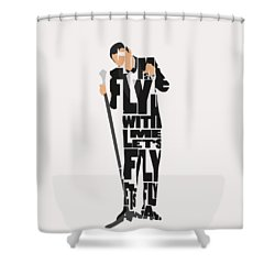 Shower Curtain featuring the painting Frank Sinatra Typography Art by Inspirowl Design