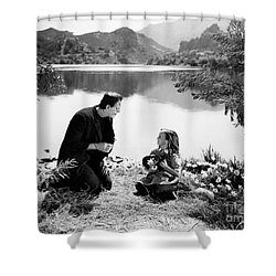 Frankenstein By The Lake With Little Girl Boris Karloff Shower Curtain