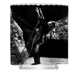 Frankensteins Monster Chained The Castle Played By Boris Karloff Shower Curtain