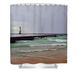 Frankfurt Lighthouse Breakwater Shower Curtain