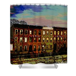 Franklin Ave. Bk Shower Curtain by Iowan Stone-Flowers